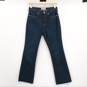 Everlane Kick Crop Wide Leg Raw Hem Blue Jeans